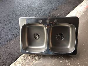 Double SS Sink & Moen Faucet with Sprayer