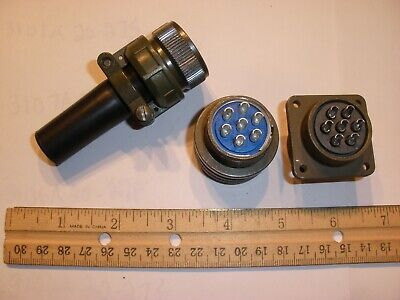New - Ms3106a 20-15s Sr With Bushing And Ms3102e 20-15p - 7 Pin Mating Pair
