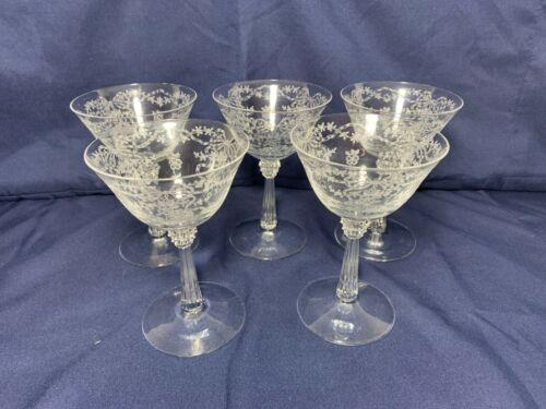 SET OF 5 VINTAGE FOSTORIA ETCHED CRYSTAL CHAMPAGNE GLASSES CORSAGE PATTERN