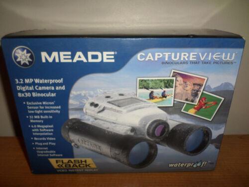 NEW MEADE CAPTUREVIEW 8x30 Waterproof Binoculars Digital Camera (records video)
