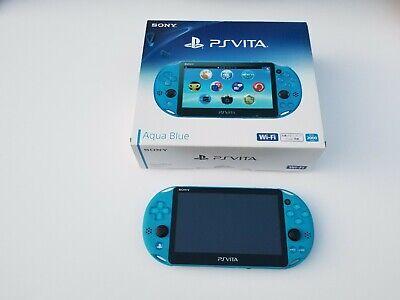 Sony PS Vita Aqua Blue Slim PCH-2000 w/ Charger, Box & Manual Japan Only Version