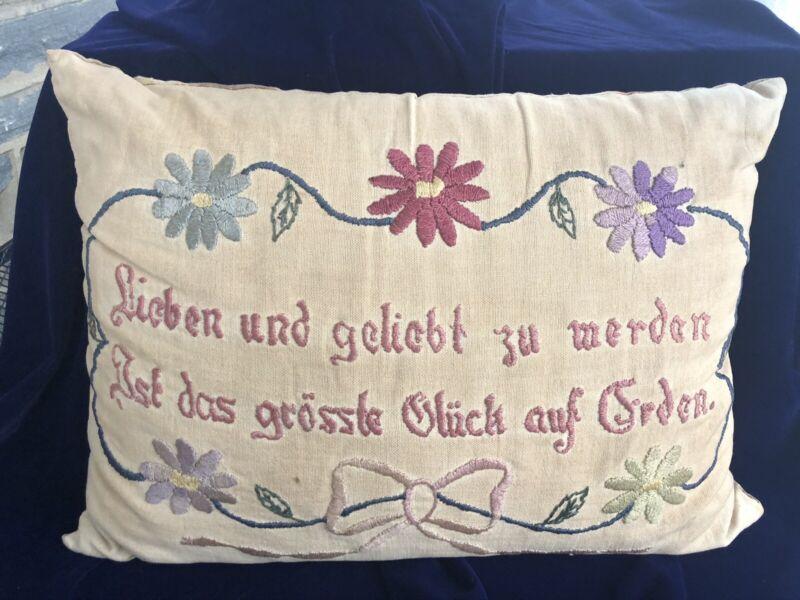 Antique Pillow Lieben und geliebt zu werden Needlepoint on Fabric Handmade
