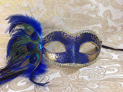 Blue & Gold Peacock Feather Venetian Mardi Gras Masquerade Mask - Masquerade Peacock Masks