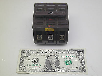 Wadsworth Triple 3p Pole 20a Amp Circuit Breaker Used But Good Free Shipping