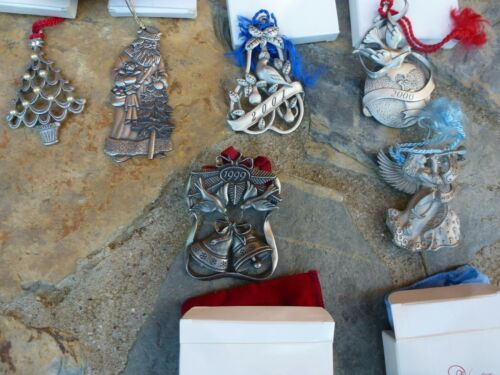 Lot of 6 Avon Pewter Christmas Ornaments