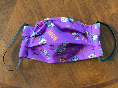 KIDS/SMALL Snoopy Peanuts Halloween Purple Face Mask Filter Pocket Nose Wire