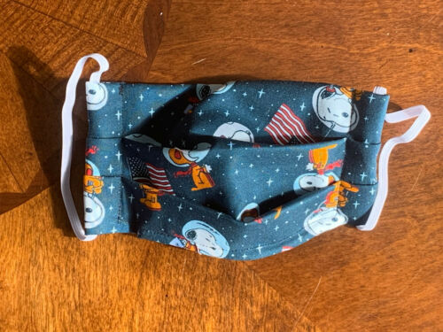 Snoopy Space Beagle Astronaut Face Mask Filter Pocket Nose Wire 100% Cotton