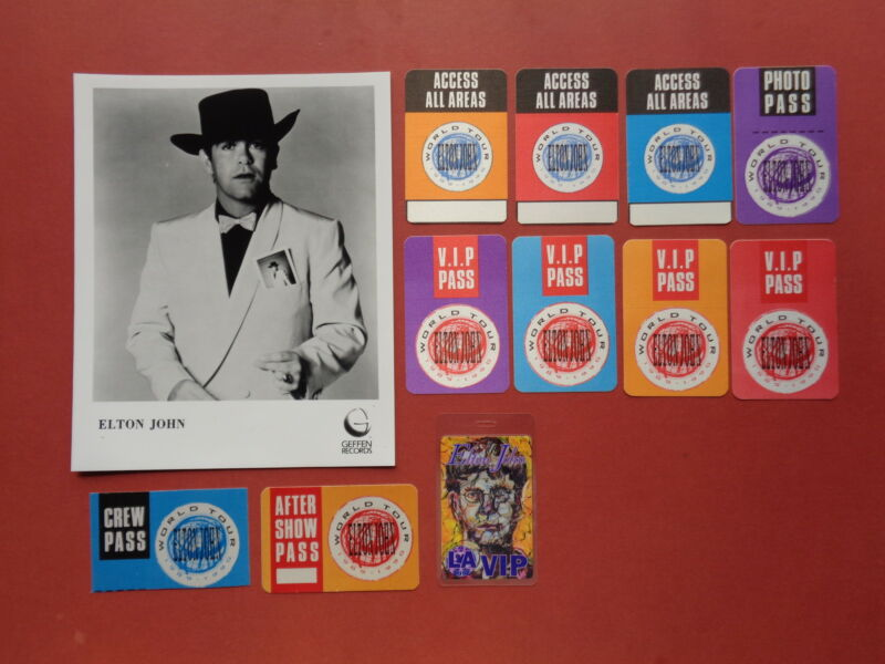 ELTON JOHN,promo photo,11 different Backstage passes,Rare Originals,