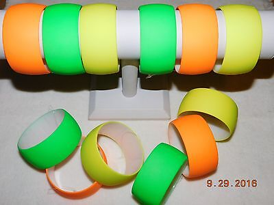 Neon Bracelets (Awesome Acrylic NEON colored BANGLE bracelets/green, orange, yellow and)