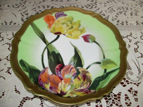 "Antique Signed O&EG Royal Austria Cabinet Plate~Bold Color Tulips Gold Trim 9.5"""