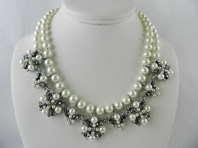 Charter Club Silver-Tone Imitation Pearl, Crystal  Double Row Collar Necklace Double Row Drop Necklace