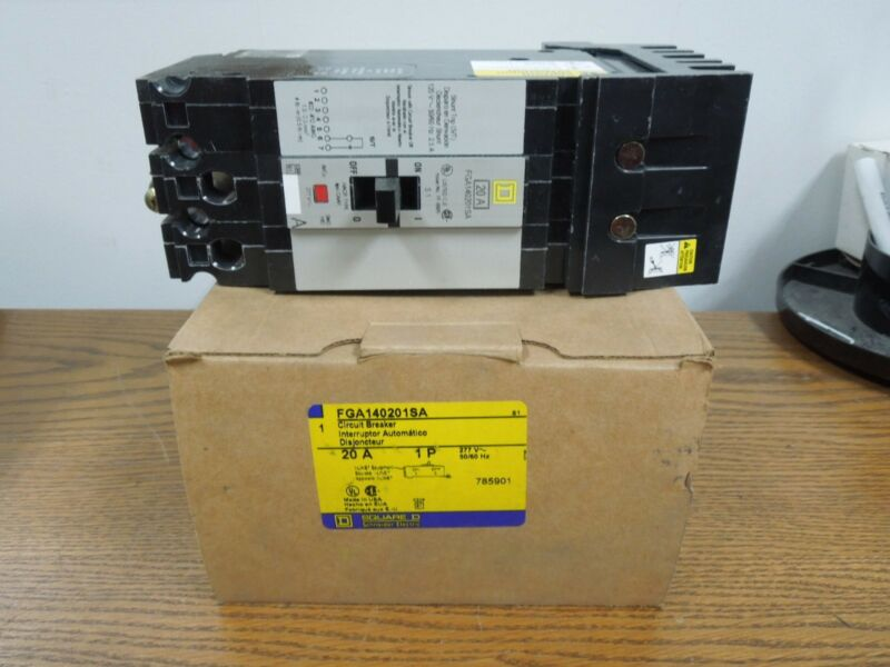Square D I-line Powerpact Fga140201sa 20a 1p 277vac (a Phase) 120v Shunt Trip