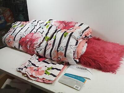 Comfort Spaces Zoe 4 Piece Comforter Set Printed  Full/Queen, Pink