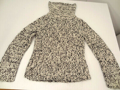 Express Black/White Marled Chunky Acrylic/Wool/Mohair Turtleneck Sweater-S/M  Acrylic Colored Sweater