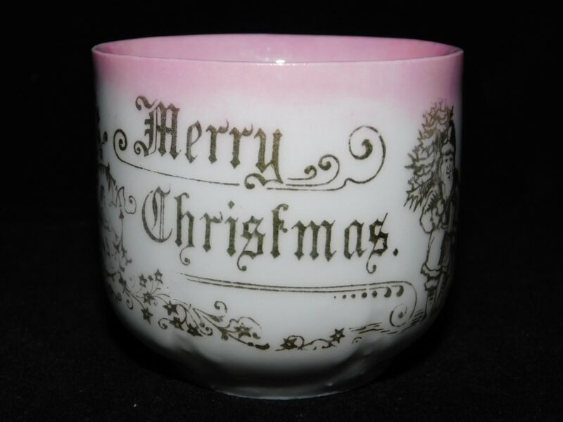 ANTIQUE MERRY CHRISTMAS SANTA CLAUS PINK & WHITE CUP FREE USA SHIPPING