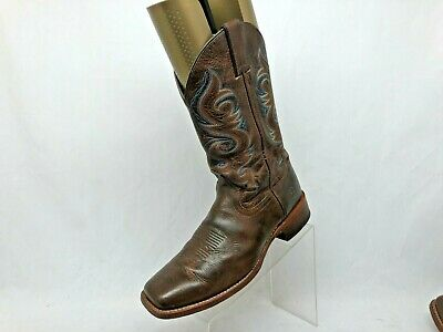 Double H Brown Leather Cowboy Western Boots Mens Size 10.5 D Style 3584