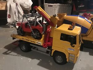 Bruder emergency two truck and Jeep with crane arm