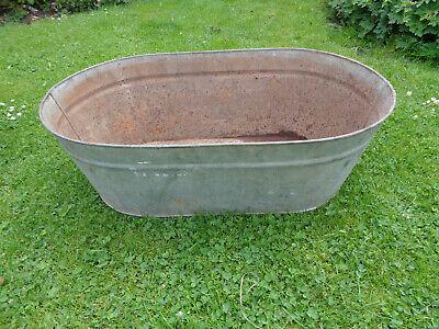 Vintage Tin Bath.Original. Oblong Shape.Great Planter!
