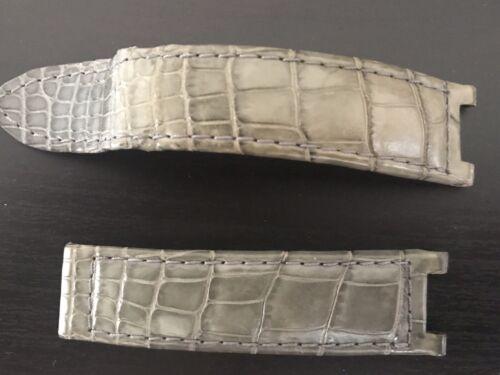 Bracelet cuir crocodile gris montre cartier pascha 18mm boucle déployante
