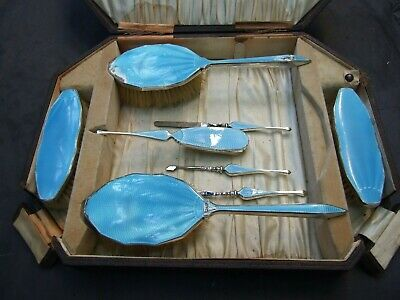 Antique Art Deco Sterling Silver Blue Enamelled 8 Dressing Table Set Birmingham