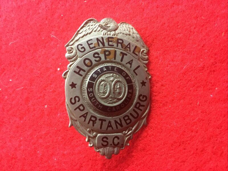 Obsolete Spartanburg SC General Hospital Police Guard Hat Badge South Carolina