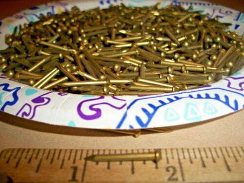 """100 VINTAGE 3/4"""" X #14 SOLID BRASS NAILS, ROUND DOME HEAD ESCUTCHEON PINS-BRADS"""