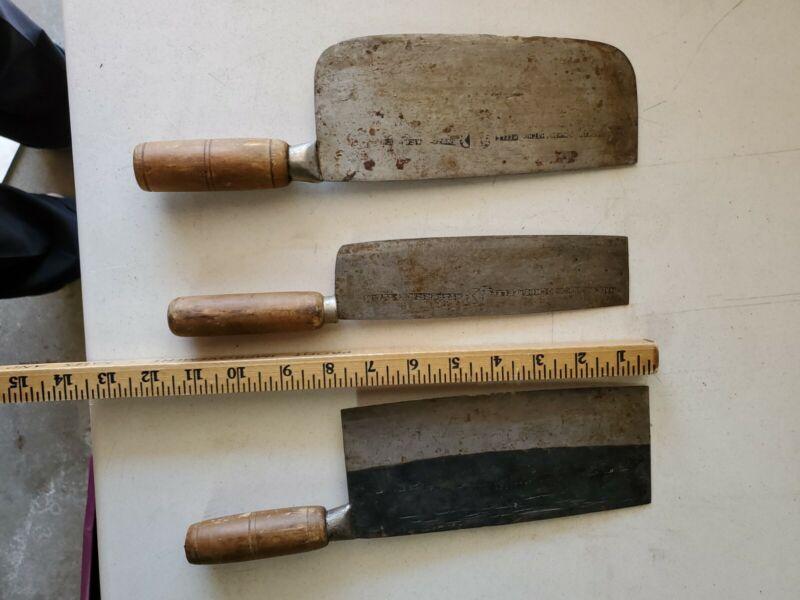 Vintage Hong Kong Ho Ching Kee Lee Knife Pair plus Cleaver