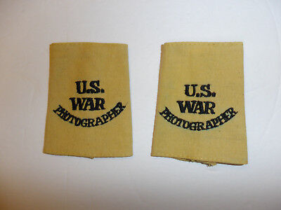 c0395p WW 2 US War Photographer tan uniform shoulder tabs slip on pair R10E