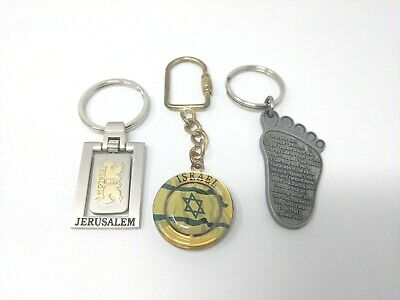 Israel Rotating Spinning Flag, Jerusalem, Prayer Metal Keychain Lot Of 3 m1