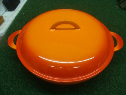 Rare Vintage Descoware 97 Large Fryer Skillet & Lid Cast Iron Enamelware ORANGE