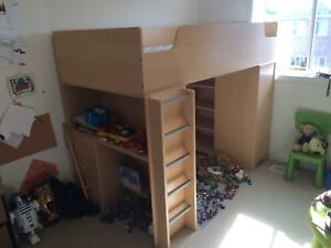 Kids bed with desk, shelves,drawers and cupboard