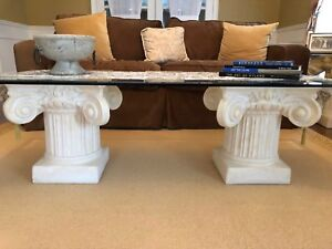 Colonial pedestal glass top coffee and side tables