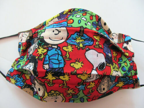 Snoopy Christmas Peanuts Face Mask w/Filter Pocket Washable Reusable Cotton