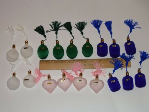 18 LOT GLASS PERFUME BOTTLES TASSELS PINK,CLEAR,GREEN,COBALT BLUE TAIWAN WAS$110