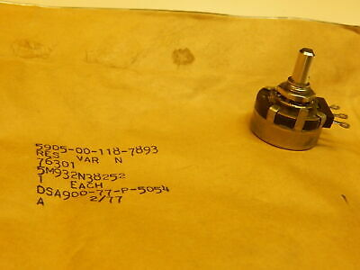 Military 2.5k 2500 Ohm Potentiometer Linear Taper 2 Watt 14 Shaft - Lot Of 2