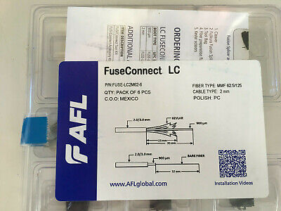 Fiber Optic. Fuseconnect Lc Splice-on Connector Mm Om1 2mm Boot 6-pack