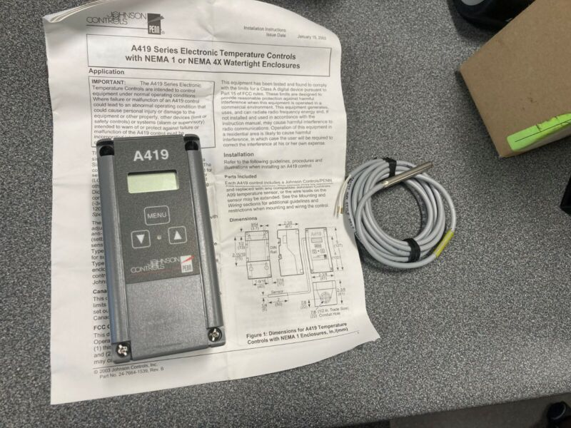 JOHNSON CONTROL A419ABC1C SINGLE STAGE TEMP CONTROLLER- NEW - FREE SHIPPING