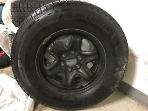 Michelin winter tires size 265/70R17 on steel rims with tpms
