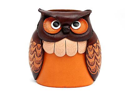 Owl Handmade Genuine Leather Eyeglasses Holder/Stand *VANCA* Made in Japan#26209