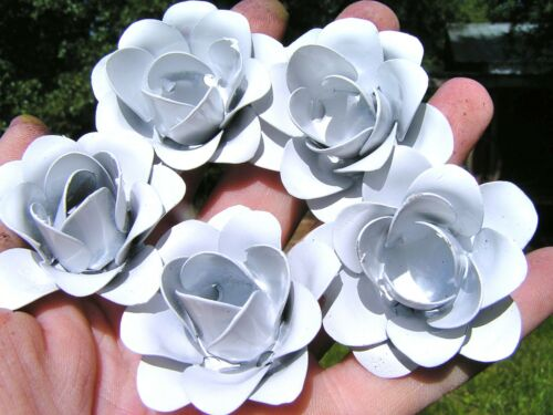 5 medium White roses, metal flowers for crafts, jewelry, embellishments, accents