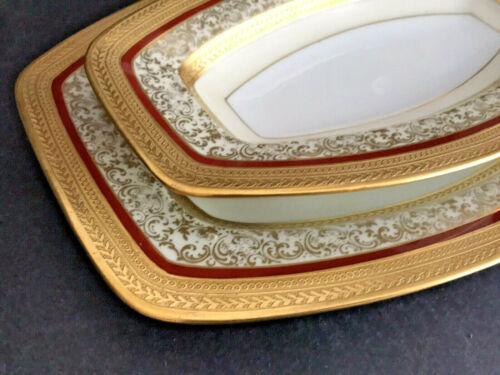 Set 2 Antique Hutschenreuther Raise Gold Encrust Empire Nest Plate Tray Platter
