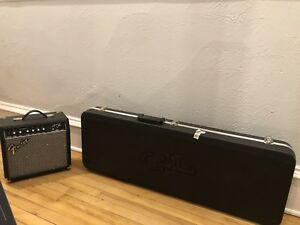 Fender Squire Strait guitar, amplifier and hard case 1 year old