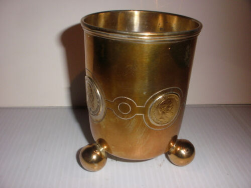 ANTIQUE ARTS CRAFTS SILVER BEAKER CUP 1888 GOLD GERMAN 20 MARK FRIEDRICH COINS