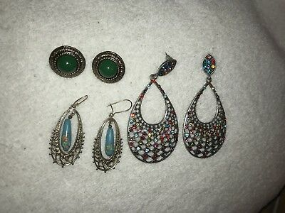 THREE PAIRS OF VINTAGE COSTUME JEWELRY EARRINGS; All in GOOD used condition L@@K
