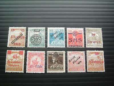 Hungary 1919. Collection of Occupation overprints. MINT but NO GUM.
