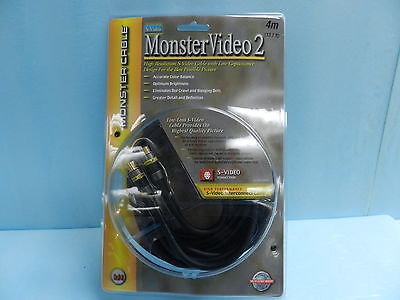 NEW MONSTER VIDEO 2, HIGH RESOLUTION. S-VIDEO CABLE 4m, 13.1ft, 24K GOLD PLATED  - $28.99