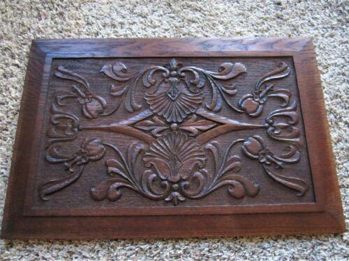 MINT Art Nouveau Floral Carved Oak Furniture Panel Ornate Victorian Cabinet Door