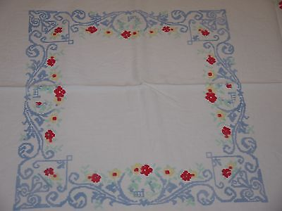 Vintage*Retro*Heavy Cotton*Tablecloth-Topper*Red Flower*Blue*Teal*Yellow White