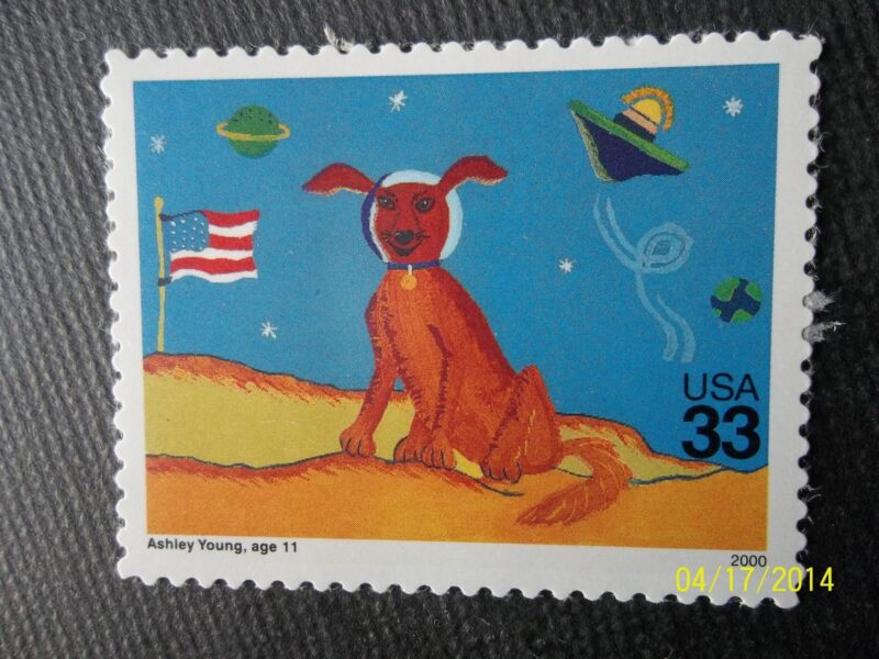 Children's child drawing on Stamp Astronaut Dog on the Moon in space US postage