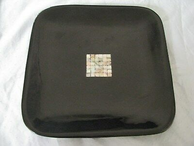 VietNam Asian Black Lacquer Square Dish Plate Inlaid MOP Mother of Pearl Abalone